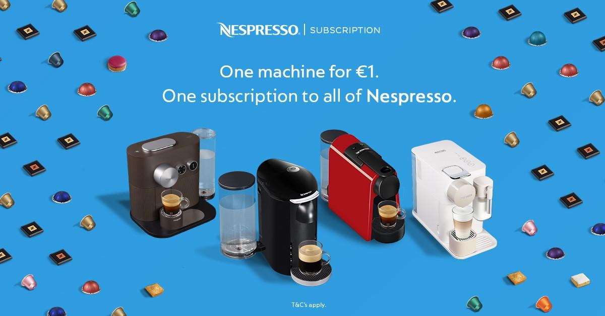 Receive a Nespresso coffee machine for just €1 in Nespresso Liffey Valley!